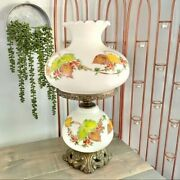Vintage Hand Painted Floral Ruffle Top Large Milk Glass Hurricane Parlor Lamp