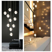 Crystal Pendant Lights Stair Chandelier Round Glass Ball Lampara Decor Home Shop
