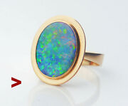 1974 Nordic Ring Opal Solid 18k Yellow Gold Andoslash Us 9.5 /7 Gr