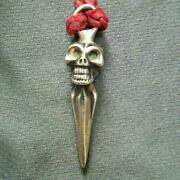 Used Bill Wall Leather Skull Leather Strap Necklace There Is A Skull Part Weight