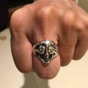 Used Bill Wall Leathe Ring Mens Accessories No.17 Size Silver Stone Cubic