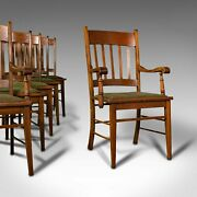 Set 6 Antique Dining Chairs English Oak Carver Seat Arts And Crafts Taste