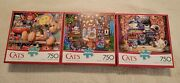3 Buffalo Cats 750 Piece Jigsaw Puzzle Lot Evening Tea Toy Cabinet Storytime