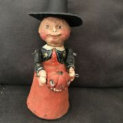 Rare Poliwoggs Vintage Witch With Pumpkin