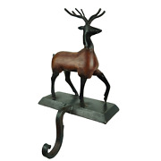 Cast Iron Metal And Wood Reindeer Christmas Stocking Holder Weighted Hanger