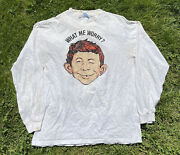 Vintage 90s Alfred E Neuman Mad Magazine Longsleeve Shirt What Me Worry