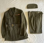Wwii Usmc Uniform Jacket And Cap With Insignia And Pants - Original Named And Dated