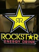"""Rockstar Energy Drink Electric Led Light Wall Sign 30"""" Tall 28"""" Wide. Man Cave"""