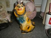 Vintage Large Early 1930andrsquos-1950andrsquos Carnival Chalkware Figure Collie Dog Bank Glit