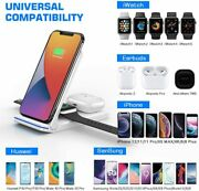 3-in-1 Qi Wireless Charger 15w Fast Charging Station For Iphone Tws Samsung Usps