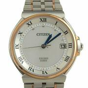 Citizen As7074 57a Eco-drive Exceed Euros Solar Stainless Men's Watch [u0909]