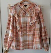 Current Air Anthropologie Womens Polly Ruffled Peasant Blouse Top Plus Size 1x