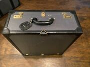 Rare Vintage Ny Collection Dinoffer, Tapestry Leather Travel Luggage Suitcase