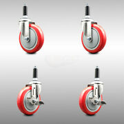 316ss Poly Swvl Ex Caster Set Of 4 W/5 Red Wheels And 3/4 Stems - 2 W/brake