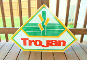 Vintage 33.5 2 Sided Painted Wood Trojan Seed Advertising Farm Agriculture Sign