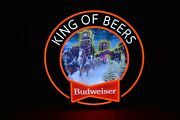 Budweiser Led Lighted Bar Sign Christmas Clydesdale Horses Snow Mancave Holiday