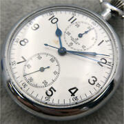 Used Breitling Hand Wound Pocket Watch Chronograph 17 Stones 48mm White