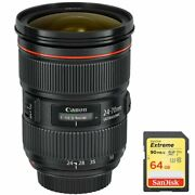 Canon 5175b002 Ef 24-70mm F/2.8l Ii Usm Lens With 64gb Extreme Sd Memory