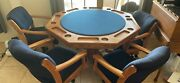 Casino And Dining Table W/4 Rolling Chairs, Oak Felt Table Poker/card