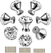 30mm Kitchen Cabinet Knobs Drawer Pull Handle Hardware, Crystal Clear Glass Door