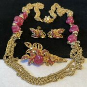 Miriam Haskell Necklace Brooch Earrings Set Vintage Gilt Dark Pink Glass Signed