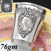 Antique French Sterling Silver Mint Julep Or Wine Cup, Tumbler, Timbale, Rococo