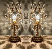 Pair Of 2 Antique Table Lamps,crystal Vintage Table Lamps, French Lamp Lighting