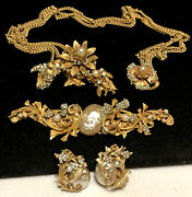 Miriam Haskell Necklace 3pc Set Rare Vintage Signed Gilt Pearl Rhinestone A7