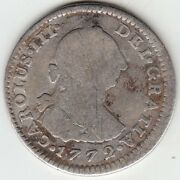 Mexico / 1 Real 1772 Mo Fm, Carolus Iii Charles Iii Inverted Fm And Mint Mark