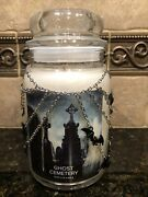Village Candle Ghost Cemetary Jar Candle W/yankee Candle Bat Jar Necklace