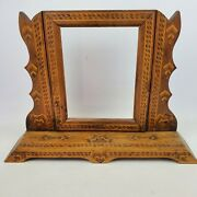 Antique Wooden Handmade Tilting Picture Mirror Frame With Base
