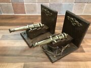 Pair Vintage Brass Ships Model Signal Cannon Bookends Maritime Marine Boat