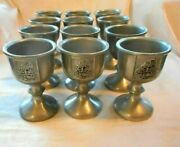 Rare Unique Pewtarex Pewter Wine Goblets-lot Of 12 Embossed With Baby Doe Scene