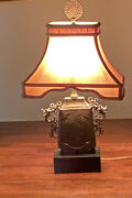 Chelsea House Ming Temple Urn Lamp Asian Chinese Style Pagoda Silk Shade