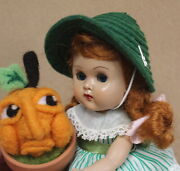 Vogue Ginny Mlw Auburn Braid Doll Tagged Outfit 1956 Merry Moppets W/ Pumpkin