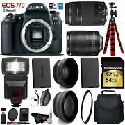 Canon Eos 77d Dslr Camera +18-135mm Is Usm Lens And 75-300mm Iii Lens+ Uv Fld Cpl