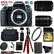 Canon Eos 77d Dslr Camera +18-135mm Is Usm Lens And 75-300mm Iii Lensxible Tripod