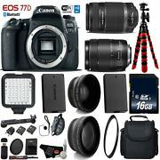 Canon Eos 77d Dslr Camera +18-135mm Is Stm Lens And 55-250mm Is Ii Lens D + Uv Fld