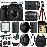 Canon Eos 80d Dslr Camera +18-135mm Is Stm Lens And 55-250mm Is Ii Lens D + Uv Fld