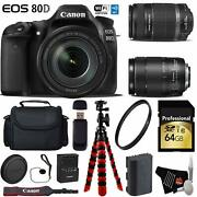 Canon Eos 80d Dslr Camera +18-135mm Is Stm Lens And 55-250mm Is Ii Lensxible Tripo