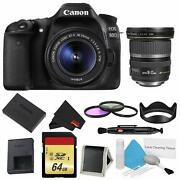 Canon Eos 80d Dslr Camera +18-55mm Lens Bundle W/ 3 Piece Filter And Memory Kit +