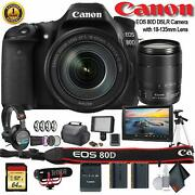 Canon Eos 80d Dslr Camera With 18-135mm Lens 1263c006 W/bag, Extra Battery,