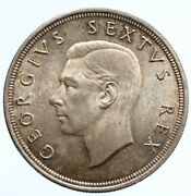 1948 South Africa George Vi Springbok Deer Silver 5 Shillings Large Coin I95786