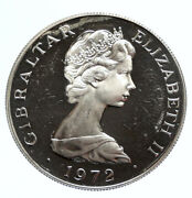 1972 Gibraltar Uk Queen Elizabeth Ii Silver Old Proof 25 New Pence Coin I95788