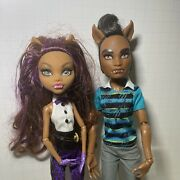 Monster High Doll Lot X2 Clawdeen Wolf And Clawd Wolf Clothes Accessory Mattel