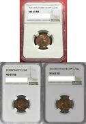 Egypt , Set 3x 1/2 Millieme King Fuad 1924 , 1929 And 1932 All Ngc Ms 63 Rb , Rare