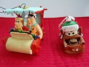 Disney Cars Mater/green Hat And Flintstones Fred And Barney Car Ornaments