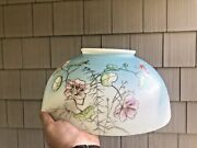 Antique 14 Glass Hanging Oil Lamp Dome Shade Pink Cherry Blossom Motif Pretty
