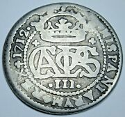 1712 Spanish Silver 2 Reales Antique 1700s Colonial Two Bit Pirate Treasure Coin