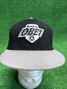 Rare Black Obey Hat Cap Grey Silver Kings World Snapback Fast Free Ship Two Tone